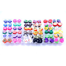 polymer clay babies UK - 12 Pairs Wholesale Mixed Styles Handmade Fimo Polymer Clay Fruits Earrings Baby Girls Children Birthday Gift