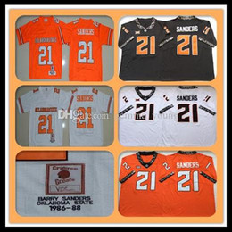 oklahoma state jersey NZ - 1986-1988 Retro NCAA Men's Oklahoma State Cowboys 21 Barry Sanders College Football Jerseys Cheap Sanders University Football Shirts Orange