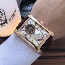 tie pin steel NZ - New Black-Tie G0A34127 Conch White Dial Automatic Power Reserve Tourbillon Mens Watch Rose Gold Case Leather Strap Gents Watches 8 Color
