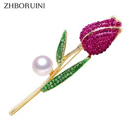 Brooch Hair Australia - heap Hair Jewelry ZHBORUINI 2019 New Natural Brooch Rose Flower Corsage Pearl Breastpin Freshwater Pearl Jewelry For Women Gift Accessor...