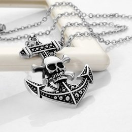 skull plates NZ - Dazzling Silver Plated do old technology necklace skull human skeleton boat anchor pendant and chain