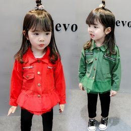 Baby Girls Spring Jackets Australia - Spring Girls Jackets Epaulette Mesh Fashion Coats for Baby Girl Zipper Buttons Children's Outerwear Autumn Kids Jacket