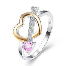 $enCountryForm.capitalKeyWord Australia - Love Heart Women Fashion Jewelry Pink Yellow White Cubic Zirconia 925 Sterling Silver Ring Size 6 7 8 9 Wedding Bridal Ring Gift