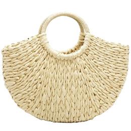 Handmade Zipper Bag Australia - Handmade Beach Bag Round Straw Tote Bag Large Bucket Summer Bags Women Natural Basket Handbag