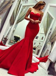 $enCountryForm.capitalKeyWord Australia - Charming REd Sweetheart Mermaid Evening Dresses With Satin Floor Length Custom Made Plus Size Girls Prom Pageant Gown 2019 Cheap Vestido