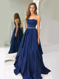 natural light tube UK - Sweetheart A-Line Satin Plus Size royal Blue Tube top Evening Dress beaded belt Zipper Back Long Party Gown Prom Graduation Robe De Soiree