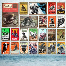 Discount motorcycle painting art - TT Isle Of Man Metal Poster Retro Motorcycle Races Plaque Wall Art Painting Plate Pub Bar Garage Home Decor Vintage Tin