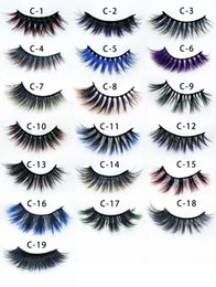colorful false eyelashes wholesale Australia - New color 3D false eyelashes wholesale makeup natural long individual thick fluffy colorful false eyelashes lash extension