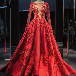 Sheer Satin online shopping - Red Evening Dresses Real Image A Line Illusion Top Sheer Long Sleeve Appliques Hand Made Flowers Long Satin Prom Quinceanera Gowns