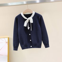 BaBy girl sweater knitting patterns online shopping - Baby Girl Sweater Autumn Knitted Solid Color Cardigans Cotton Bow Pattern Kids Sweaters Children Baby Cardigan Clothes New