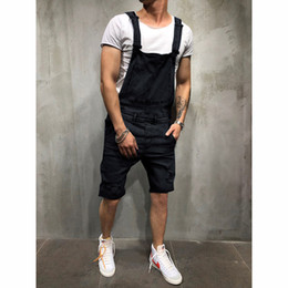 $enCountryForm.capitalKeyWord Australia - Cargo pants Men Overall Casual Jumpsuit Jeans Wash Broken Pocket Trousers Suspender Pants biker stretch jeans vaqueros pantalon