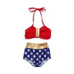 63c3733f70 2019 Girls Swimwear Newest Two-piece Girls Swimming Clothing Suits  Sleeveless Belt Tops Star Blue Shorts Girls Swimming 2pcs Bikini Outfits
