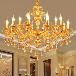 Chandeliers Australia - Modern Candle Chandelier Wrought Gold LED Crystal Chandeliers Lighting Fixture Switch Control Hanging Lamp For Decor