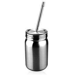 Wholesale Cans Lids Australia - 14oz Stainless Steel Mason Jar Double Wall Mason tumbler with lid straw 14oz Coffee beer juice mug mason Cans drinking sippy cup ZZA311
