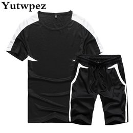 tracksuit summer men Australia - Men's Streetwear Sets 2pcs T Shirts+Shorts Tracksuit Men Summer Brand Two Piece Fashion Casual Tshirts Gyms Workout Fitness Sets
