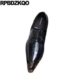 Shoes Alligator Men Dress Shoes With Metal Tips Toe Party Gold Crocodile Pointed 46 Snake Skin Brand Large Size Club Runway Snakeskin