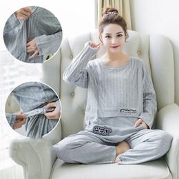 2a7ba15cc7d44 9451 Maternity Nightwear Set Autumn Thin Pregnancy Nightgown Breastfeeding  Sleepwear Nursing Pajamas for Pregnant