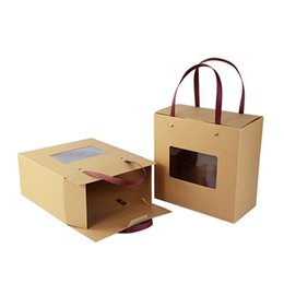 Food soap online shopping - Universal Kraft Paper Handmade Soap Box Tea Packing Box Portable Snack Cake Box with Window WB836