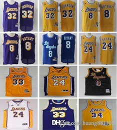 5c07f59114e Men Los Angeles Basketball Jersey Laker 8 Kobe 24 Bryant Shaquille 34  O'Neal 32 Johnson 33 Abdul-jabbar Jerseys
