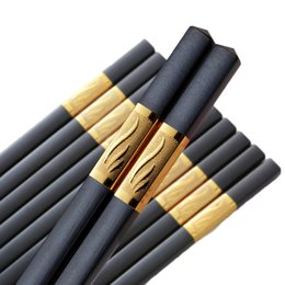 black chopsticks UK - Melamine Chopsticks. Reusable Luxury Chopstick Set. A Wooden Replacement Made With Non-Toxic Dishwasher Safe Melamine. (27cm Black 10 Pairs)