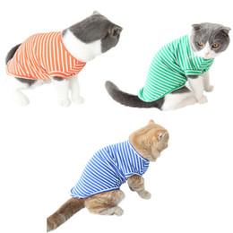 $enCountryForm.capitalKeyWord Australia - Classic Stripe Pet Cat Shirt T-shirt Kitten Vest for Summer Spring Soft Cotton Pet Clothes Pajamas Puppy Costume