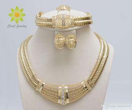 Bride Jewelry Set Crystal Australia - Free Shipping 18k Gold Filled Dubai African White Austrian Crystal Necklace Bracelet Earring Ring Wedding Bride Jewelry Set