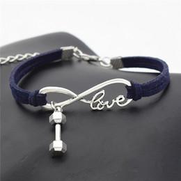 $enCountryForm.capitalKeyWord Australia - Infinity Love Barbell Dumbbell Sports Fitness Pendant Brand Charm Bracelet Handmade Navy Leather Suede Fit DIY Making Women Men Cuff Jewelry