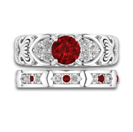7762507fb75a7b Wholesale Free Shipping Sparkling Luxury Jewelry 925 Sterling Silver Red  Ruby CZ Diamond Gemstones Women Wedding Bridal Heart Ring Set Gift