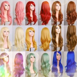 girl cosplay long black hair UK - 28inches Loose Wave Synthetic Wigs for black women Cosplay wig Blonde Blue Red Pink Grey Purple Hair for human party 911colors)