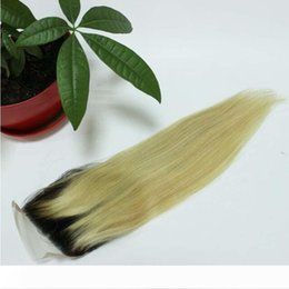 ombre bleached closure UK - Ombre Blonde human hair straight body wave Lace closure 1b 613 Lace closure human hair closure 4x4inch bleached knots with baby hair