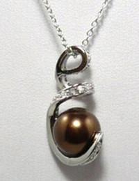 $enCountryForm.capitalKeyWord Australia - necklace 828 natural sallei nanyang pearl 10mm coffee shell bead silver pendant necklace