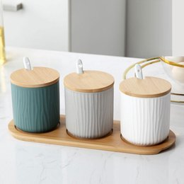 $enCountryForm.capitalKeyWord NZ - Nordic Ceramic Jar Set 300ml Seasoning Box Pepper Salt Can Condiments Container With Spoon Kitchen Storage Rack SH190628