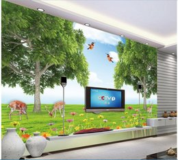 Chinese  3d wallpaper custom photo mural Natural scenery Grassland Flower moose tree background Home improvement living room wallpaper for walls 3 d manufacturers