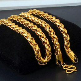 wedding thick gold chain Australia - 6mm Men's 18K Gold Plated Twist Thick Chain Vintage Necklace 24'