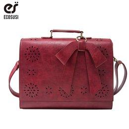 $enCountryForm.capitalKeyWord Canada - ECOSUSI PU Leather Women Handbag Vintage Messenger Bag For 14'' Laptop Retro Crossbody Bag for Women Ladies Shoulder Briefcase