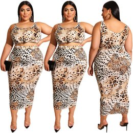 leopard skirt plus size Australia - Casual Style Summer Women Two Piece Outfits Leopard Pattern Sleeveless Vest Short Top Bag Hips Skirt Mid-calf Length Plus Size