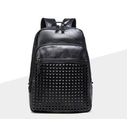 $enCountryForm.capitalKeyWord Canada - Factory wholesale brand men handbag multi-functional leather rivet backpack lovers backpack men essential black rivet backpack