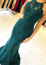 $enCountryForm.capitalKeyWord Australia - Dark Green Lace Mermaid Prom Dresses Long Cheap Key Hole Back Evening Wear Gowns Black Girls Quinceanera Sweet 16 Dress Cocktail Party Gown