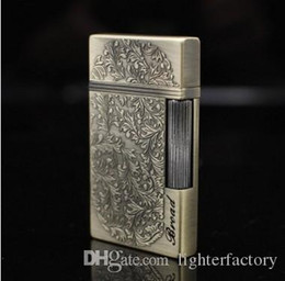 Flower lighters online shopping - New Arrival Wealthy relief flowers ultra thin grinding wheel Torch Lighter smoking metal Butane gas lighter