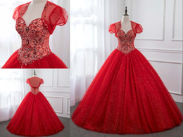 $enCountryForm.capitalKeyWord Australia - 2019 Luxury Red Sweetheart Rhinestones Beaded Quinceanera Prom Dresses Ball Gown With Jackets Tulle Bling Crystal Corset Sweet 15 Dress