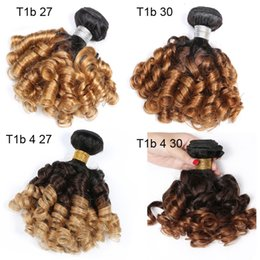 Ombre dyed weave online shopping - Ombe Brazilian Bouncy Curly Human Hair Bundles T1b Dark Root Honey Blonde Bundles Human Hair Weaves Double Weft Funmi Hair