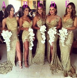 Discount color burgundy plus size wedding dress - Sparkly Bling Gold Sequined Mermaid Bridesmaid Dresses Backless Slit Plus Size Maid Of The Honor Gowns Wedding Dress BO8