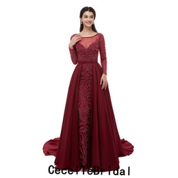Champagne Luxury Prom Dress UK - 2019 New Burgundy Long Mermaid Evening Dresses With Long Sleeves Luxury Beading Women Girls Formal Evening Prom Party Gowns Real Photos