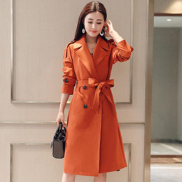 Wholesale designer trench coats women for sale - Group buy Plus Size Double Breasted Women Women Trench Coats Spring Long Trench Windbreaker For Coat XLFashion Elegant Outerwear C5326 Iccbr