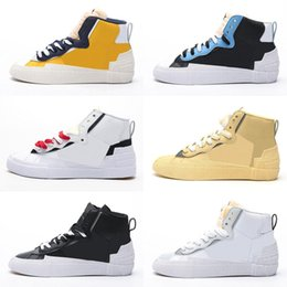 air sports shoes blue green NZ - Hotsale Sacai x Blazer Mid LDV running shoes Kids mens top quality Maize Navy University Blue black white green women sports sneaker trainer