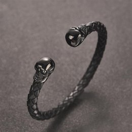 $enCountryForm.capitalKeyWord Australia - OBSEDE Punk Skull Leather Bangles for Men Stainless Steel Braided Bracelets Fashion Male Jewelry Accessories Valentine Day Gifts