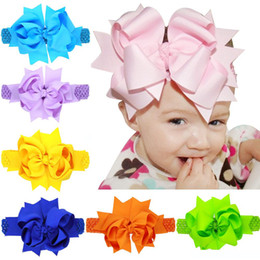 $enCountryForm.capitalKeyWord Australia - newBaby Girls Super Big 20cm Bows Headbands Kids Children Grosgrain Ribbon Forked Tail Bow Hairbands Elastic Wide Band Hair Accessories