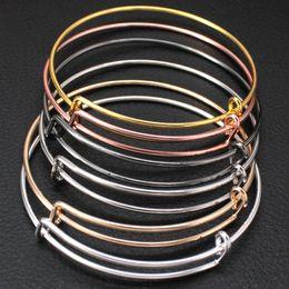 $enCountryForm.capitalKeyWord Australia - Expandable Wire Bangles Bracelet Women Wholesale Lots Bulk Adjustable Silver Cable Charms Bracelet for Jewelry Making Cheap Sale