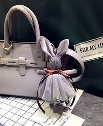 Soft toyS rabbit online shopping - New Arrival Cute Soft Lace Dress Rabbit Stuffed Plush Animal Toy Pets Fashion For Baby Girl Kid Gift Animal Doll Keychain