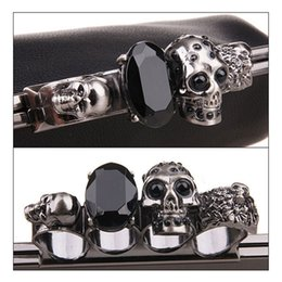 single gems NZ - Designer-Wholesale-New Arrival Women's Handbag Black Skull Gem Ring Knuckle bag Purse Crossbody Bag with Chain